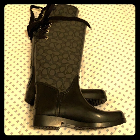 Coach Shoes - Coach Tristee Jacquard Signature Rain Boots
